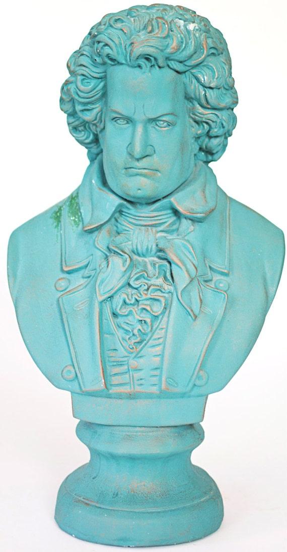 Beethoven Bust Statue, Bust Sculpture, Ceramic Decor in Seafoam Green,