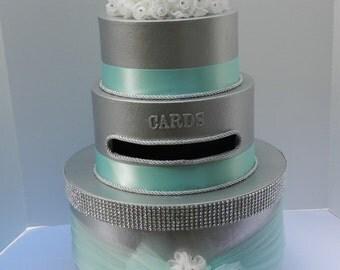 Silver Wedding Card Box Bling Blue Ribbon
