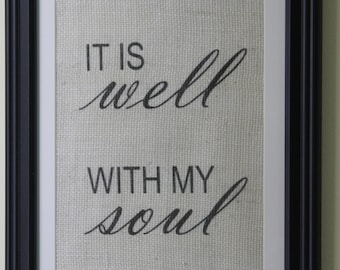 It Is Well With My Soul Burlap Wall Print