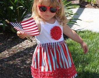 4th of July t-shirt dress girl ruffle rosette pdf pattern baby toddler onesie RUFFLED ROSETTE