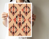 "Ikat - A3 print - Tribal print 11""x16"" - Hands drawing base - Purple pink - Geometric - villavera"