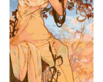 Mucha Summer Fine Art Handmade PDF Cross-Stitch Pattern