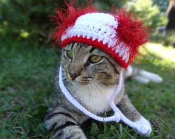 Hat for Cats, Cat Hat, Dog Hat, The White and Red Wackadoodle Cat Hat