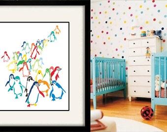 kids bathroom art, penguin nursery art, nursery art children's art bathroom art modern nursery art nursery decor coastal art beach house art