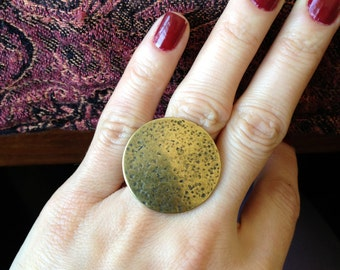Dotted Textured Big Disk Silver Plated or Brass Adjustable Statement Ring