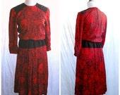 SALE Mod Dress Red Vintage Dress Black Velvet Details Cherry Apple September Mod Bell Sleeves Roses Wide Belt Fanciful 1960's In Cinq