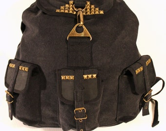 Studded Canvas and Leather Backpack - Assorted Colors