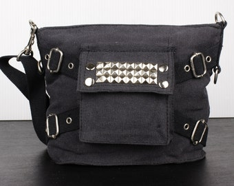 Black Studded Riveted Canvas Army Crossbody Bag