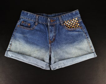 Gold Studded Ombre High-Waisted Cut-Off Shorts Size 28