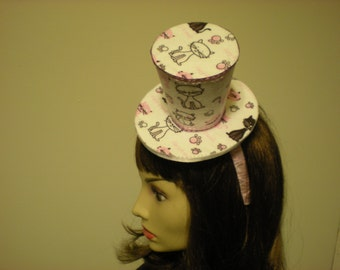 Pink and White Cat Mini Hat on Pink Headband