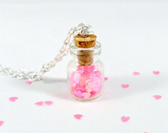 Fairy Glitter Hearts In A Bottle Necklace, Captive Hearts, Silver Plated Necklace, Cute, Kawaii :D
