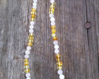 Beautiful Polished Lemon Genuine Baltic Amber with Amethyst and Moonstone Necklace, Precious Ladies