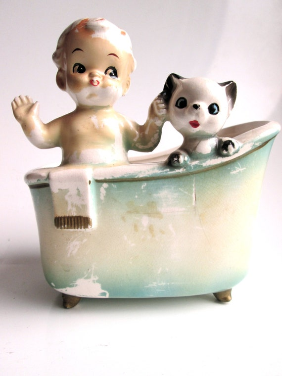 Antique Porcelain Planter Vintage Bathroom Accessory Nursery