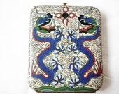 Antique Cloisonne Dragon Serpents Cigarette Case, Cigarette Holder, Card Case, Asian Case, Serpent Case