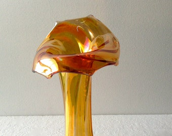 Early 20th Century Imperial Glass Marigold Morning Glory Jack In The Pulpit Vase