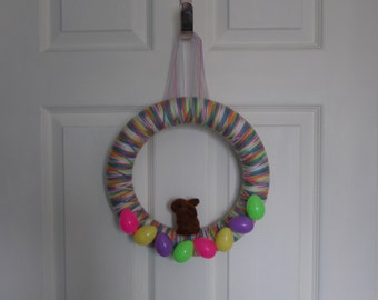 """12"""" Bright Colors Easter Yarn Wreath With Mini Easter Eggs and Brown Bunny"""