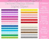 DIY Printable Digital Ribbon Clipart - Instant Download, Rainbow Scallop Textured Ribbon, Personal & Small Cu Scrapbook