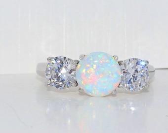 Beautiful Opal & Zirconia Ring .925 Sterling Silver Rhodium Finish