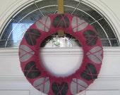Valentine's Day Gray Heart Argyle Pink Yarn Wrapped Wreath Grey