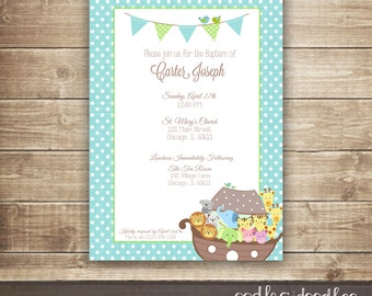 Boy's Baptism Invitation / Christening Invitation / Dedication / Noah ...