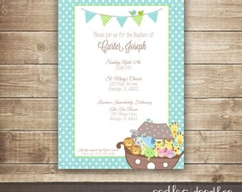 Baby boy christening invitation | Etsy