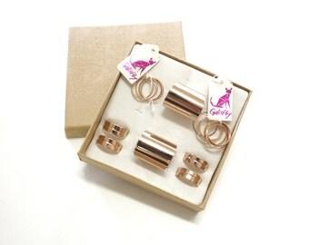 Galisfly Rose Gold Stack Ring Box - rose gold knuckle rings rose gold tube rings and rose gold midi rings