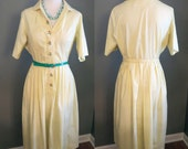 SALE Yellow Knee Length Sun Dress - Vintage Fashion Shirtdress