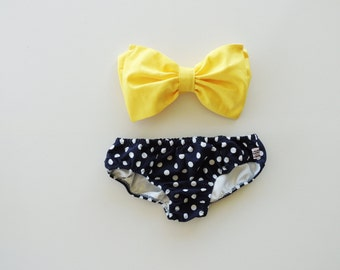 Sunshine Bow Bandeau Bikini Style Top Navy Blue and white polka dot panties.Diva Halter neck top pin up ALL Cotton