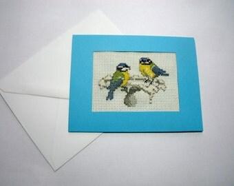 Birthday Card. X Stitch Card.  Bird Lovers Card.  Blue Tit Card. Notelet Card.  CLEARANCE SALE