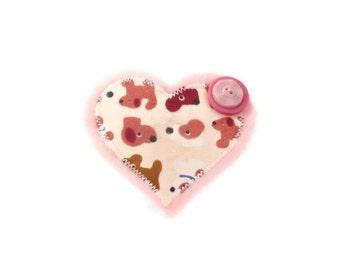 Dog Lovers Handmade Heart Brooch.   HALF PRICE SALE