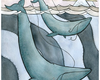 Blue Whales Flying Kites - Blue Whale Art - Giclee Print - Whale Watercolor - 8x10