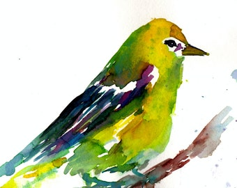 "Print of Original Watercolor Painting, Titled: ""Sylvester the Bird"" by Jessica Buhman 8 x 10 Yellow Blue Purple Pink Green Bird"