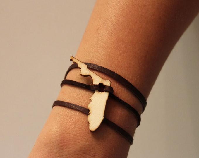 Florida Leather Wrap Bracelet