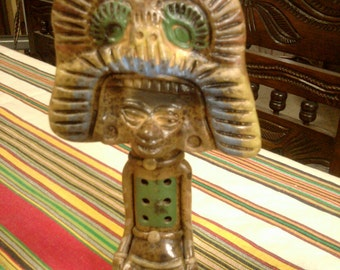 Mayan Shaman Flute - Pre-Columbian Style Mexican Pottery Vintage