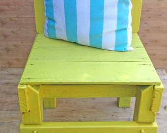 Upcycled solid wooden chair - made with recycled wood and painted bright yellow (DELIVERY NOT INCLUDED)
