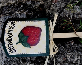 Garden Strawberries Plant Sign - Wood Garden Sign