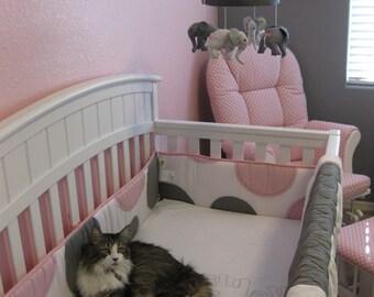Baby Mobile--Pink Grey Nursery---Elephant Mobile--Fabric Mobile--Nursery Mobile-baby Elephants