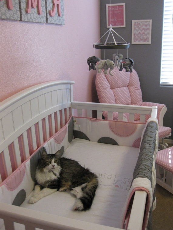 Grey baby elephant crib mobilepink grey by memefleury on etsy for Baby mobile pink and grey