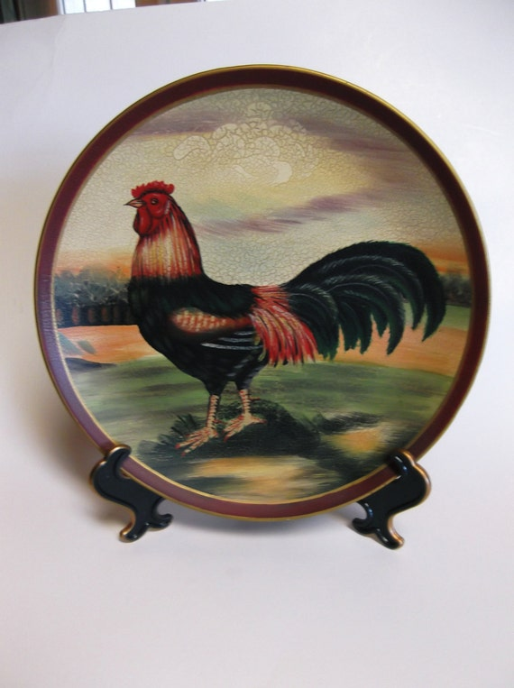 decorative rooster plate. Black Bedroom Furniture Sets. Home Design Ideas