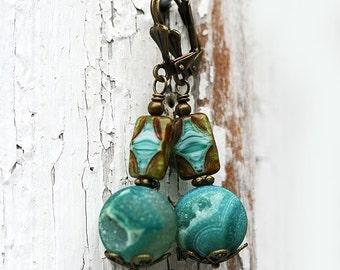 Boho Dangle Earrings, Agate Earrings, Rustic Teal, Gemstone Dangle Earrings, Bohemian jewelry, Druzy Agate Earrings by MayaHoney