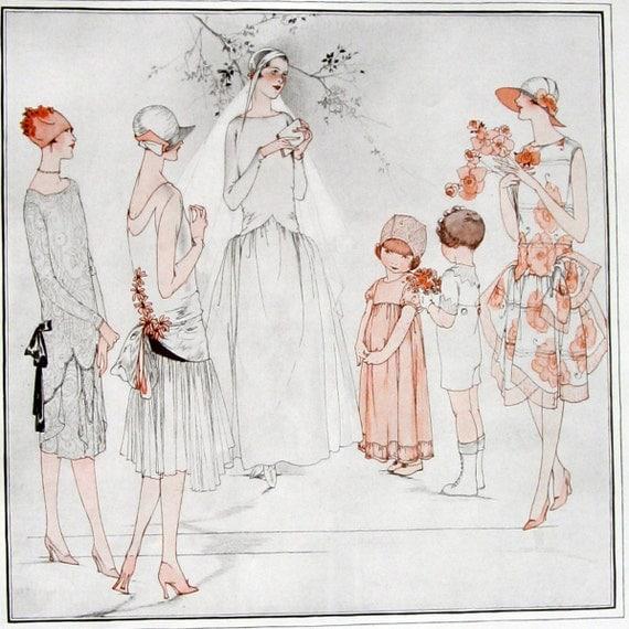 Wedding Gown Illustrations: Vintage Fashion Illustration Wedding Gown Bridesmaids 1920s
