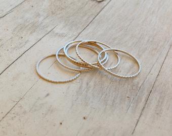Set of 5 Gold rings, Stacking ring, stacking gold rings, thin ring, hammered ring, tiny ring, thin rings- R22