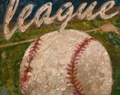Baseball- League Baseball vintage look wall art by Aaron Christensen.  Diamond field and game ball perfect for sports theme