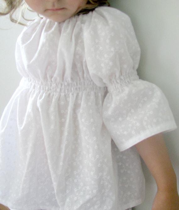 Toddler Girls Peasant Blouse White Embroidered Eyelet