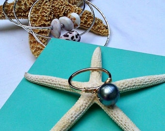 Tahitian Pearl GOLD filled stack ring