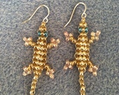 """FIRST PLACE- 0.925 Sterling Silver """"Lucky Lizard"""" Hanging Earrings w/ Metallic & Translucent Golden Seed Beads - Made to Save LIves"""
