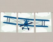 Airplane Art Print Set - Vintage Biplane - Transportation Decor - Baby Boy Nursery - Set of 3