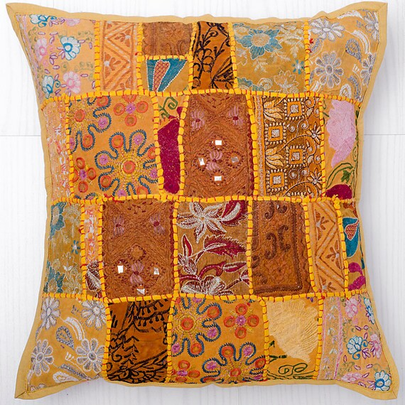Handmade Vintage Throw Pillows : Vintage Patchwork Throw Pillow Handmade by CraftAuraHome on Etsy