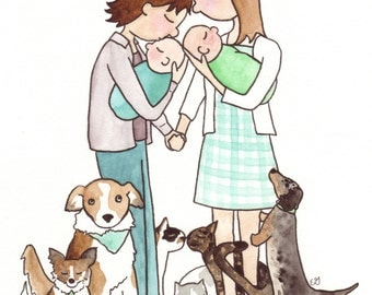 Custom Family Portrait (An Original Watercolor illustration of your unique family)
