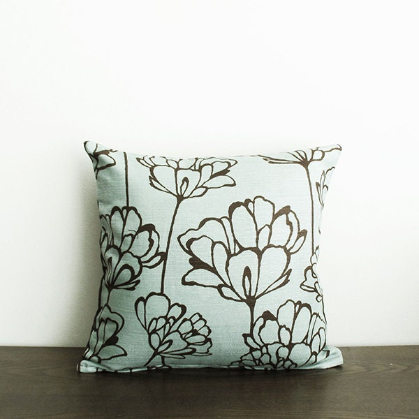 Brown Floral Throw Pillow : 16x16 Blue / Dark Brown Floral Throw Pillow Cover
